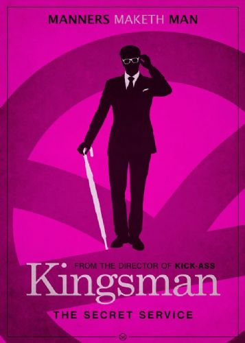 2010's Movie - KINGSMAN MINIMAL PINK canvas print - self adhesive poster - photo print